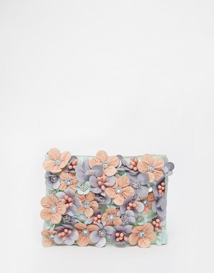 Image 1 ofASOS Flower Embellished Clutch Bag