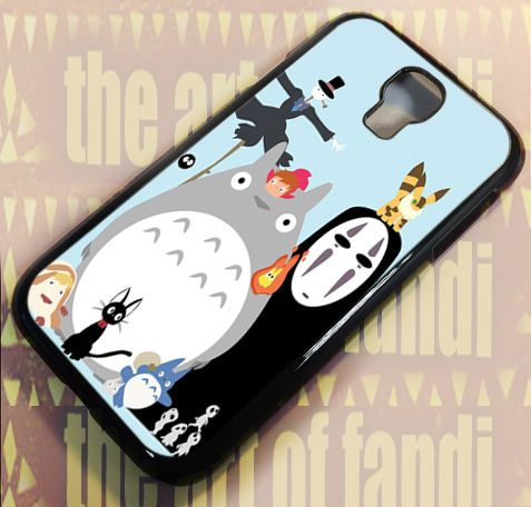 Disney Ghibli Gang Totoro For Samsung Galaxy S4 Black Rubber Case