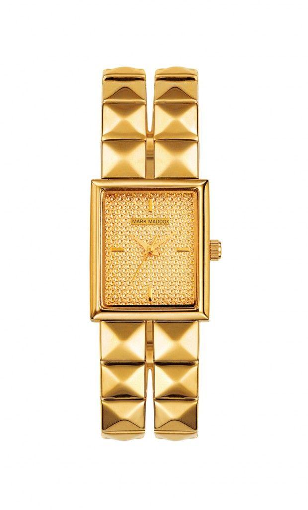 Para quienes les gusta el rock nuestro modelo sera una gran opción!!    Reloj tres agujas brazalete con acabado IP Dorado y cierre desplegable. Cristal mineral e impermeable 10m (1ATM).