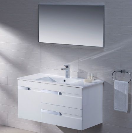 Adornus yasmine 40 inch white wall mounted modern bathroom for All modern bathroom vanity