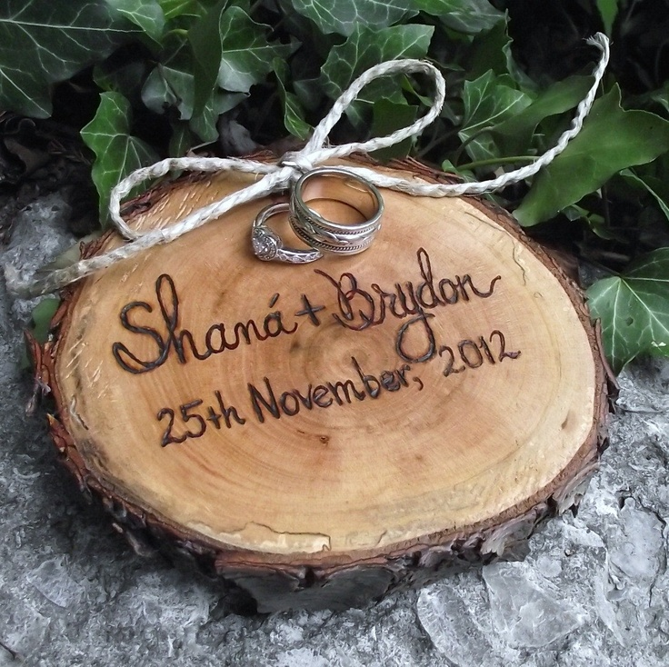Personalized Wood Ring Bearer Pillow - Eco-Friendly Wood Burned Ohio Cherry Wood - Rustic Eco-Chic for Outdoor Cottage or Woodland Wedding. $26.95, via Etsy.