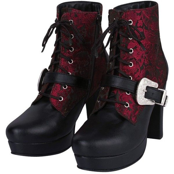 Rique Gothic Boot ($160) ❤ liked on Polyvore featuring shoes, boots, gothic boots, brocade shoes and goth boots
