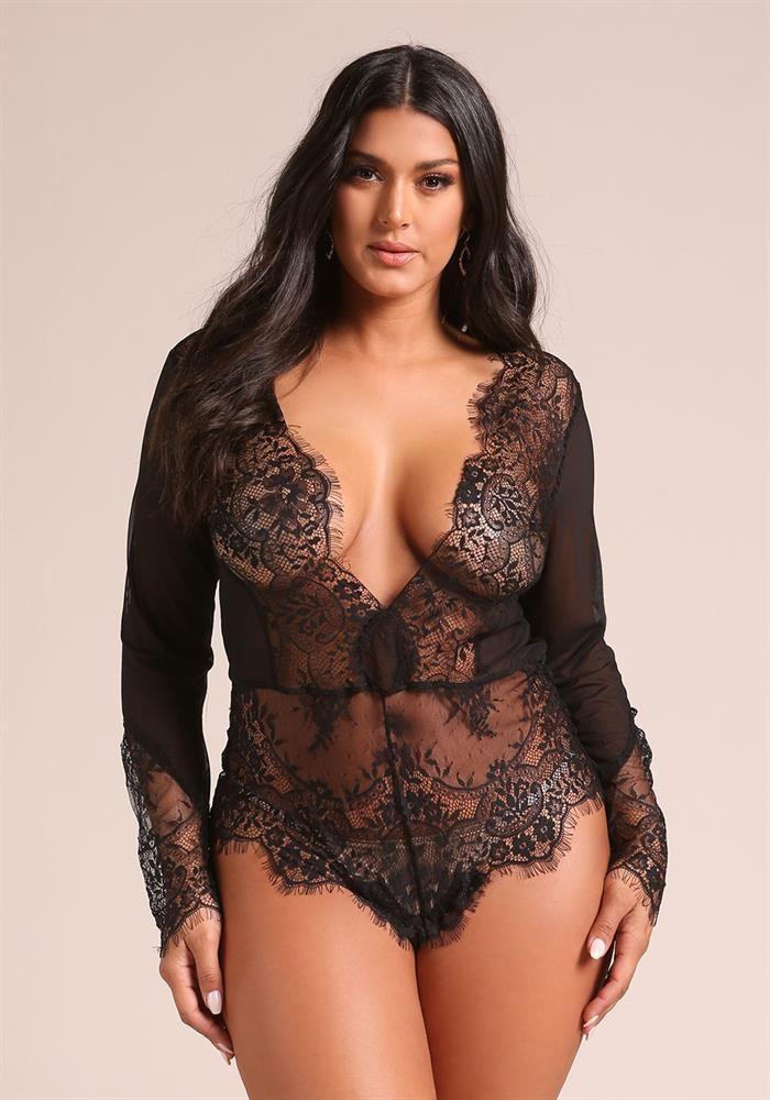 f89604ce153ff Plus Size Clothing | Plus Size Delicate Lace Plunge Lingerie Bodysuit |  Debshops