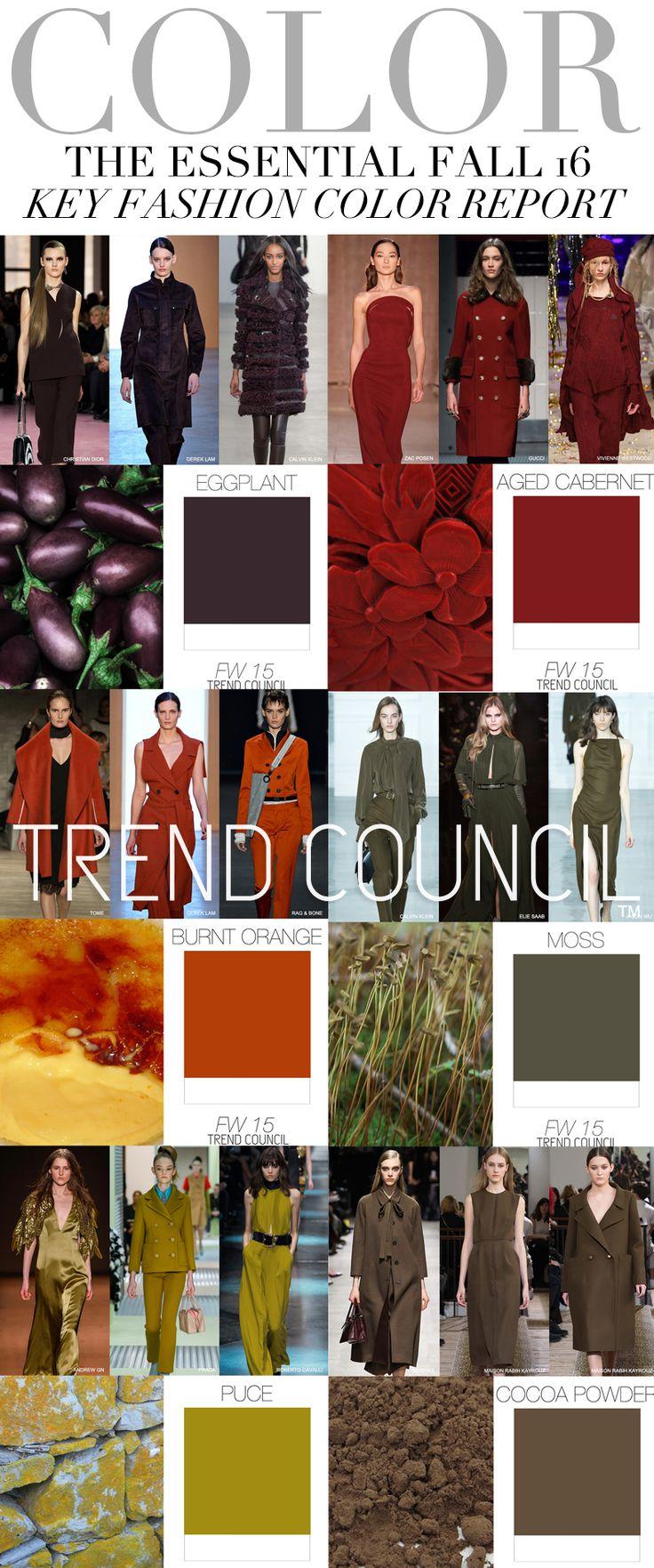 trend council f w 2016 key fashion color report fall winter 2016 color pinterest trends. Black Bedroom Furniture Sets. Home Design Ideas