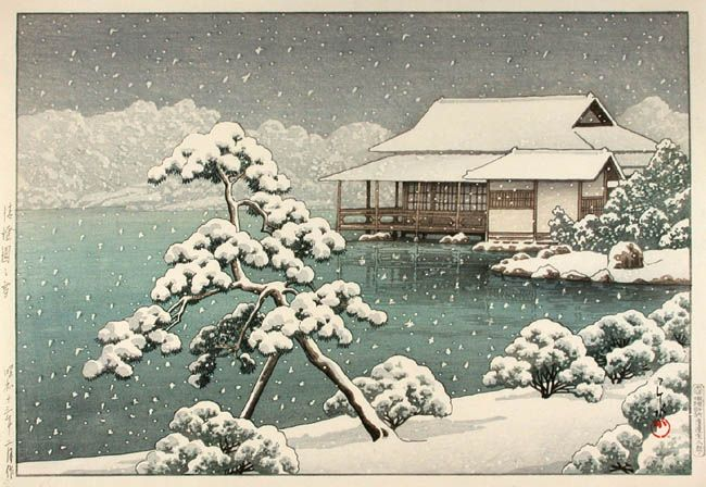 hanga gallery . . . torii gallery: Snow at Seichoen Garden by Kawase Hasui