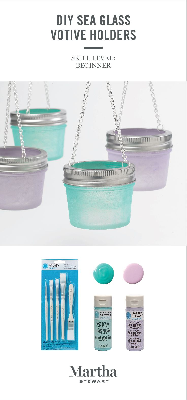 Bring back memories of walking along the beach with our new Sea Glass paints available only at Michaels. They create a frosted, pastel look to any glass surface.