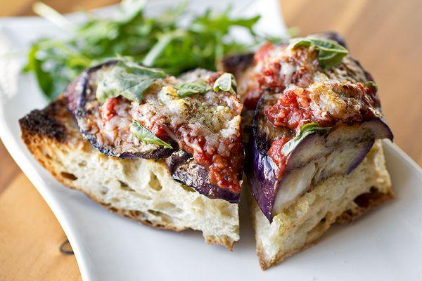 Grilled Eggplant Parmesan with Fiery, Red Wine Marinara on Crusty Garlic Toast with Arugula Salad
