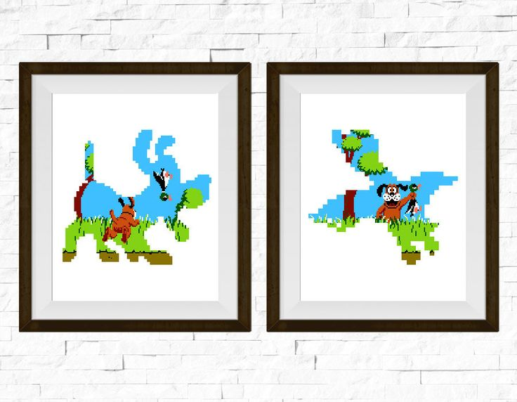 Duck Hunt Video Game Set of 2 Art Print Poster Art by PleasantBox