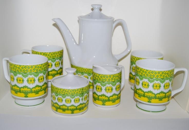 RETRO home decor 70s Mod coffee tea set green yellow coffee set.