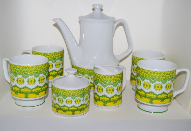 RETRO home decor 70s Mod coffee tea set green yellow coffee set.