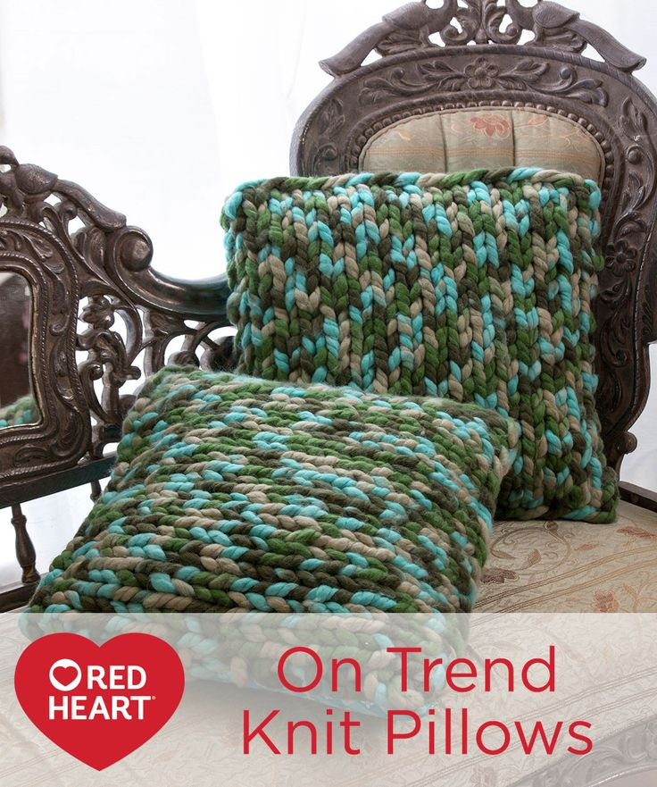 on trend knit pillows free knitting pattern in red heart
