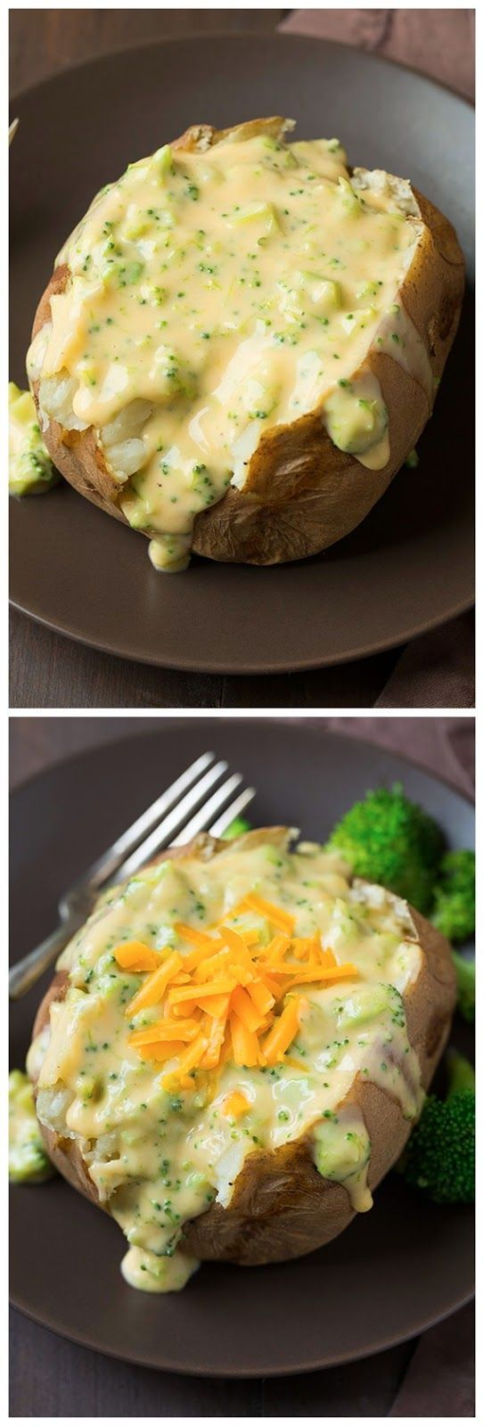 Baked Potatoes with Broccoli Cheese Sauce   Ingredients   3      medium Russet potatoes, scrubbed and rinsed  2      Tbsp butter, diced i...