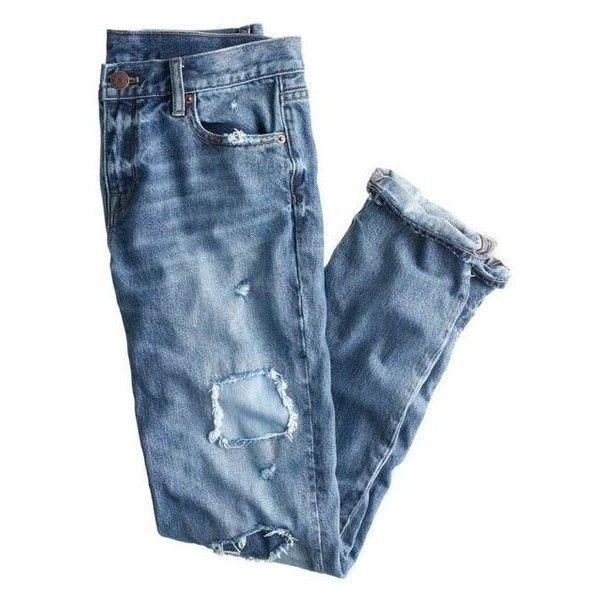J.Crew Broken-In Boyfriend Jean ❤ liked on Polyvore featuring jeans, j crew boyfriend jeans, destruction jeans, blue distressed jeans, ripped boyfriend jeans and destroyed jeans