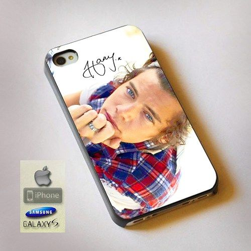 "One Direction Harry Styles Print On Hard Plastic For iPhone 4/4s, Black Case  This case is available for: iPhone 4/4S iPhone 5/5S iPhone 6 4.7"" screen Samsung Galaxy S4 Samsung Galaxy S5 iPod 4 iPod 5"