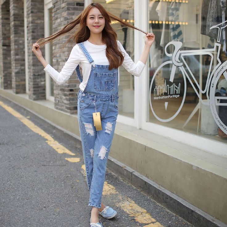 New arrival women s casual holes denim overalls Lady s loose jumpsuits Female fashion jeans Free on http://ali.pub/efxv7