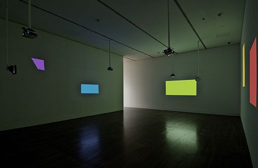 """This multi-channel video installation creates a gallery of moving abstraction. Michael Snow, """"The Viewing of Six New Works,"""" 2012, National Gallery of Canada."""