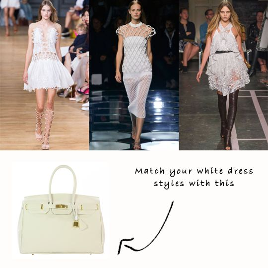 A touch of elegance with a rock star attitude – here's why the delicate white dress is winning in Paris: http://ht.ly/CLgh3  Match your white dress with a classic handbag. This bag won't just be perfect for your white outfit, it's classic style and neutral colour means it'll match with all the colours in your wardrobe!