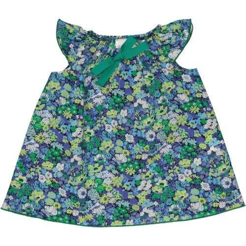 Louise - robe - devant - Liberty Thorpe bleu/vert