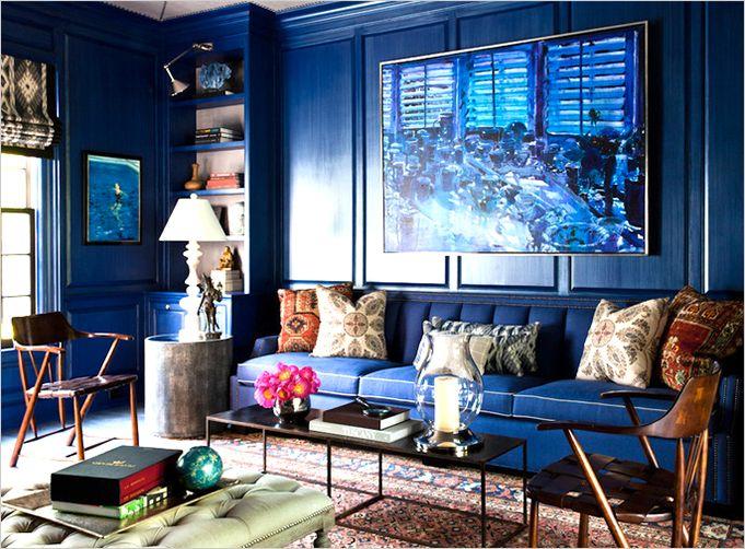 A Cobalt blue living room