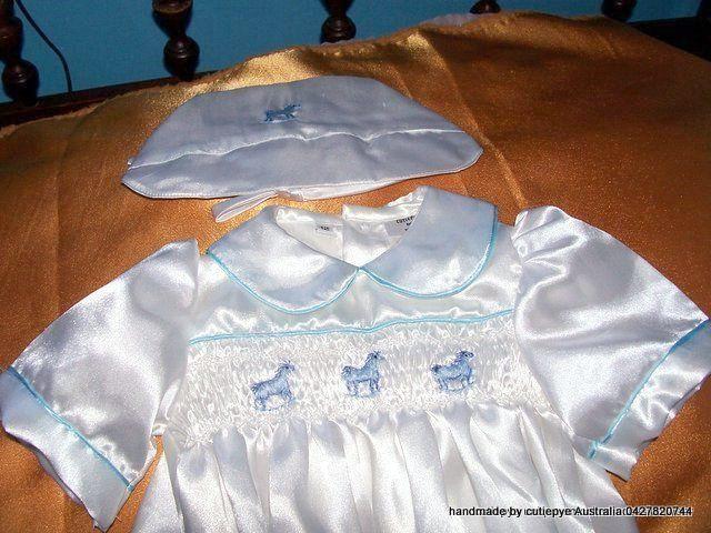 cutiepye smocked satin boys christening romper m0427820744
