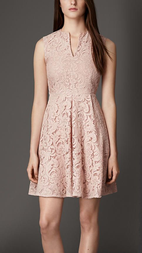 Ice pink Fitted Lace Dress - Image 1
