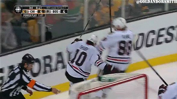Sharpie's goal celebration! love this (gif)  He's so excited that he actually falls over.
