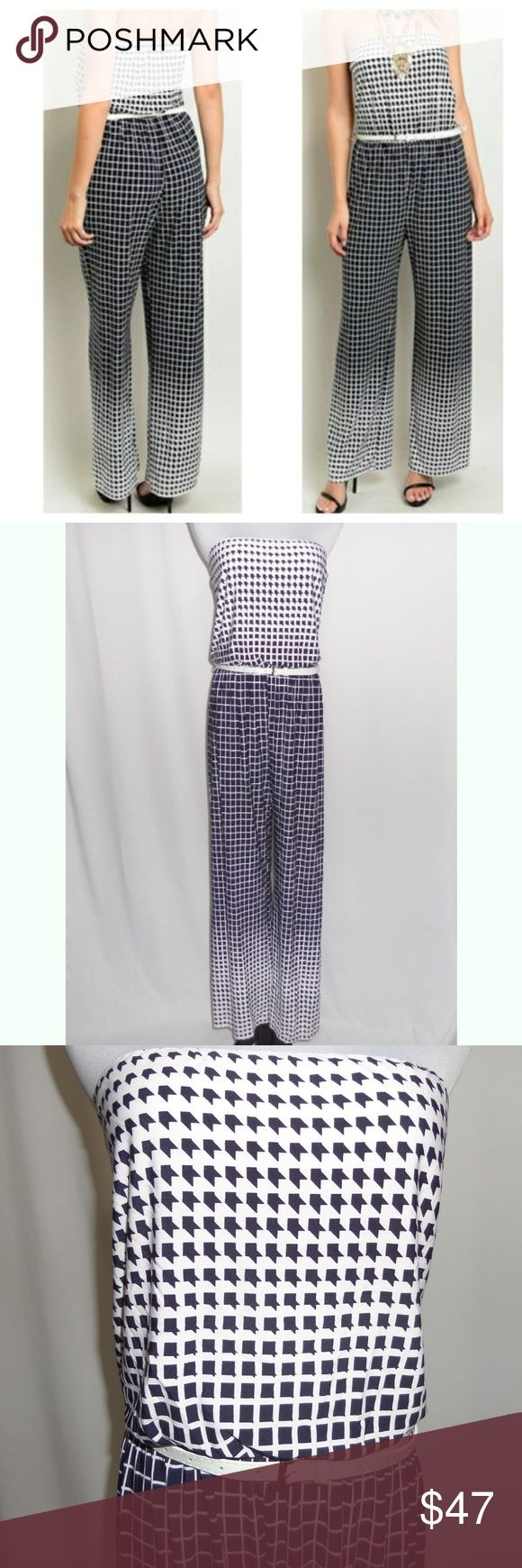 """{JUST IN} Dark Navy Blue Checkered Jumpsuit Dark Navy Blue/White Print Jumpsuit (almost looks black in some lighting) Fading pattern of houndstooth-checkered-houndstooth print Tube-top/sleeveless Stretch waist Includes the white belt Lined top front No padding 96% Polyester 4% Spandex Hand wash Made in USA New without tags  Pit to hem: 25""""  Inseam: 29""""  Pit to pit: S: 13-16"""" M: 14-17"""" L: 15-18""""  Waist:  S: 24-32"""" M: 26-34"""" L: 28-36""""  spring summer easter sunday church beach vacation cruise…"""