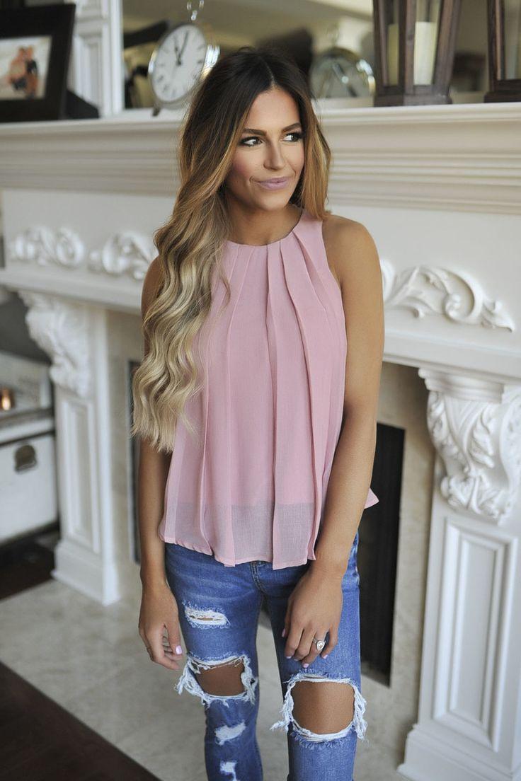 Rose Pleated Tank - Dottie Couture Boutique