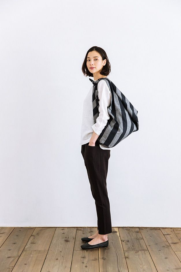 F/style 亀田縞の風呂敷(大)(太縞)生成紺+黒鼠紺