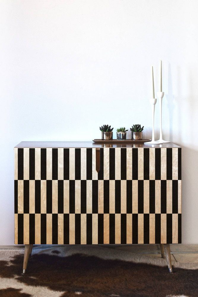 DENY Designs Bianca Green Black And White Order Credenza   Domino