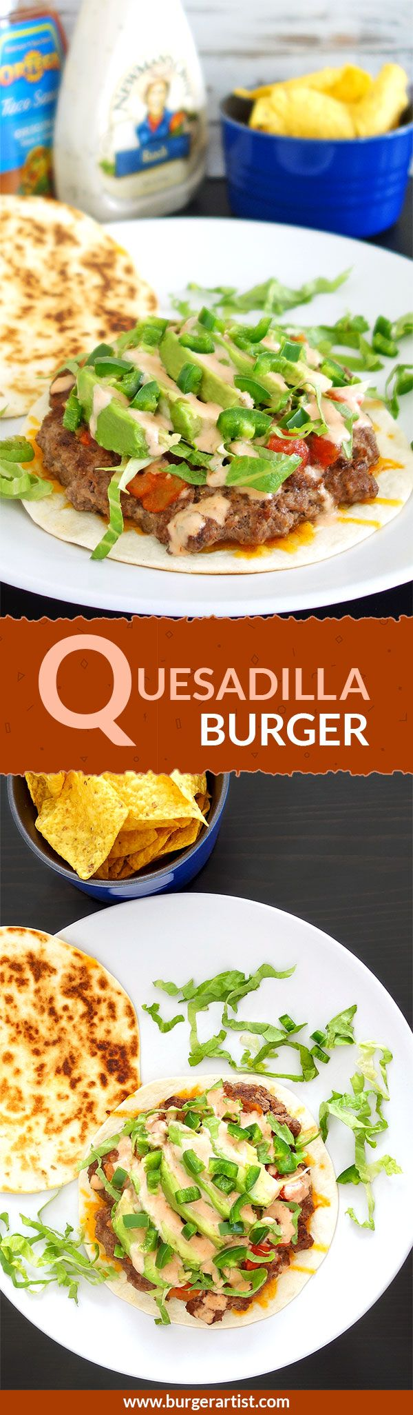 The quesadilla burger recipe - topped with avocados, jalapenos, and cheese