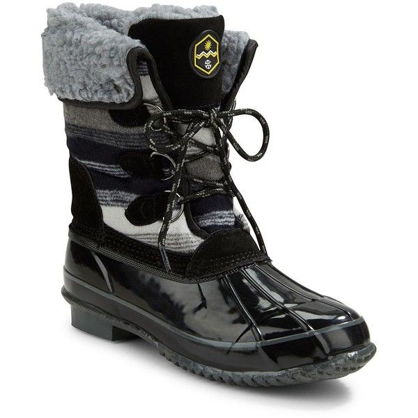 Khombu Jilly Faux Fur-Lined Snow Boots ($95) ❤ liked on Polyvore featuring shoes, boots, black, black lace up shoes, laced up boots, black shoes, fur snow boots and khombu boots