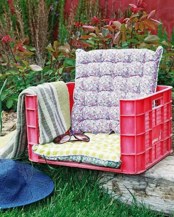 milk crate chair. could put it onto another milk crate to give it some height. good for outdoors.