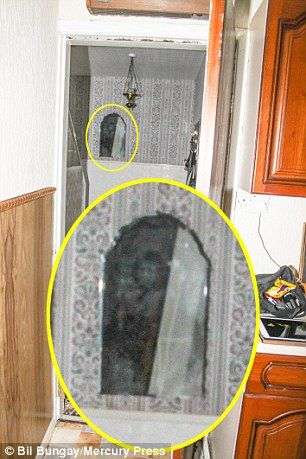Ghost hunter Pete Boulton, pictured right, photographed what he believed may be the Black Monk of Pontefract, left, inside one of the most haunted family homes in Europe, inset.