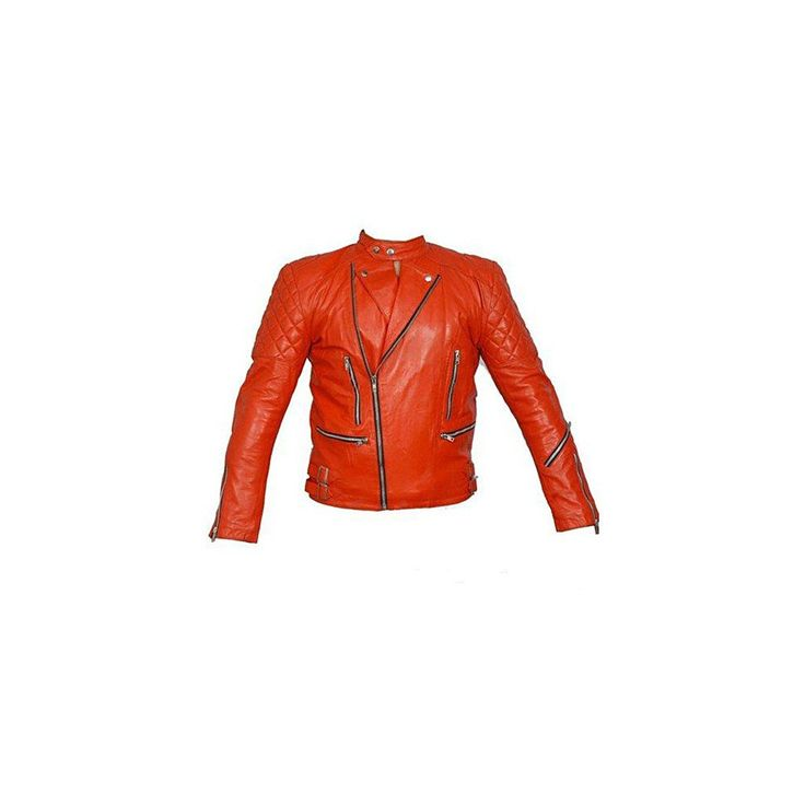 Red Brando Quilted Biker Leather Jacket
