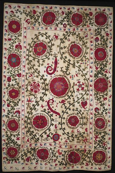 Suzani from Bukhara, Uzbekistan (late 19th century). A suzani is a type of embroidered and decorative tribal textile made in Tajikistan, Uzbekistan, Kazakhstan and other Central Asian countries: https://en.wikipedia.org/wiki/Suzani_(textile)