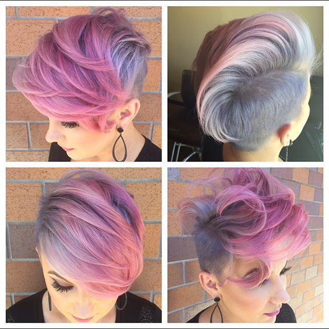 Pink and silver pixie undercut