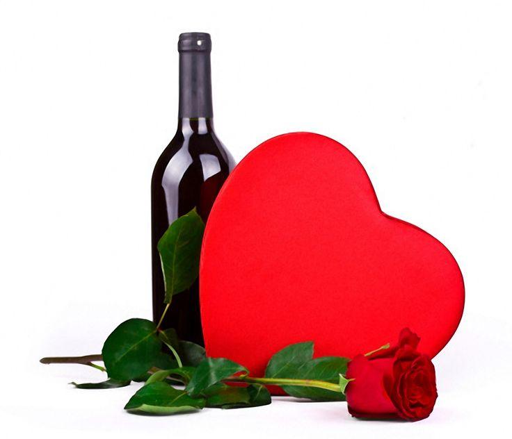 flowers rose wine romantic love heart valentines day