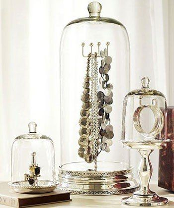 glass dome jewelry organization: Lucky Magazine   75 Creative Ways To Organize Your Jewelry : Lucky Magazine. I really need to this. My jewelry is all over the place. Whats the sense of having a lot if its not organized. Thanks Lucky.