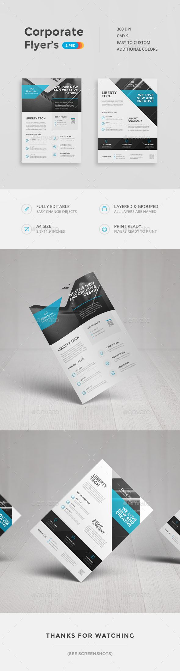 Corporate Flyers Template PSD #design Download: http://graphicriver.net/item/corporate-flyers/13736788?ref=ksioks