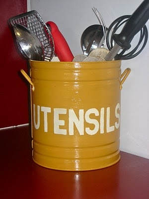 Utensil Holder - what about painting the oversized popcorn tins at the thrift stores?  Maybe add some handles?