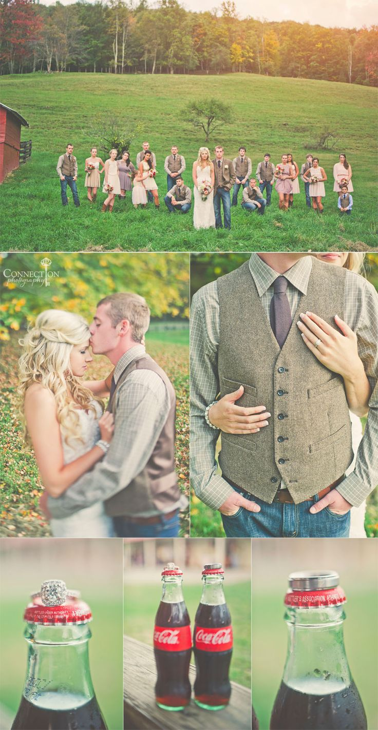 I love all of these wedding poses! And the rings on old Coke bottles! The wedding party looks great, not too country and not too sophisticated. Love! | West Virginia Wedding {Creative Traveling Wedding Photographer} » Connection Photography Blog–Traveling Wedding Photography
