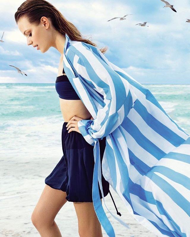 """Fifty shades of blue. Model: @EstherHeesch Photo: @EduardoRezende Style: @Zolototrubova. / Если собираетесь провести майские праздники на море выбирайте все оттенки синего от небесно голубого до иссиня-чёрного: шёлковые боди и халаты купальники и шорты цвета морской волны вы найдёте в разделе """"Шопинг"""" нового номера.  via VOGUE RUSSIA MAGAZINE OFFICIAL INSTAGRAM - Fashion Campaigns  Haute Couture  Advertising  Editorial Photography  Magazine Cover Designs  Supermodels  Runway Models"""