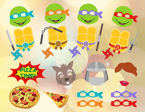 Instant Download Ninja Turtle Photo Booth Props by OneStopDigital