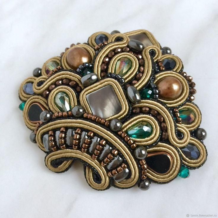 Купить Брошь La Reine Gold - брошь, жемчуг, подарок девушке, натуральные камни