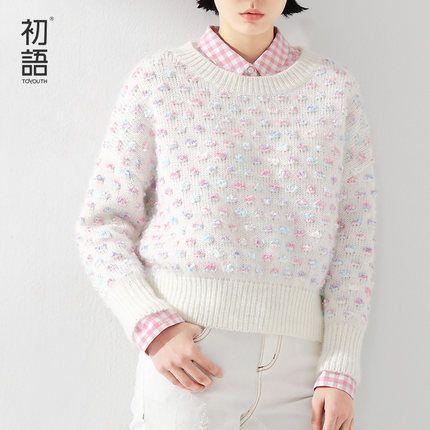 初语圆领针织衫宽松打底毛衣-tmall.com天猫