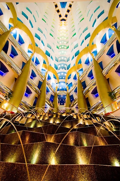 "Dubai is like the sandbox of architects, and I love it! This is the 180m tall lobby hall of Burj Al Arab, ""the only 7 star hotel in the world"""