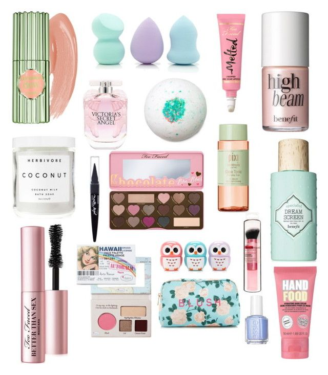 beauty wish list: spring 2016 ✨ by thebubblyblonde15 on Polyvore featuring polyvore, fashion, style, Too Faced Cosmetics, Benefit, Forever 21, Maybelline, Victoria's Secret, Herbivore, Soap & Glory, Pixi, Essie and clothing
