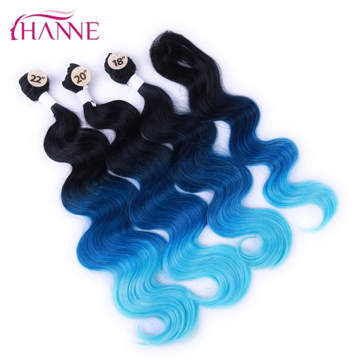 HANNE 3Pcs Hair Extensions Bundles With One Closure Natural Body Wave Weft Hair Weaving Ombre Hair Weave Black Blue Light Blue