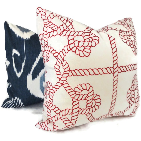 Love the red rope with the navy ikat.